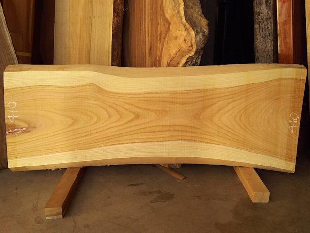 K-513 欅ケヤキ 国産 天然耳付き板 1220×450 天然乾燥材