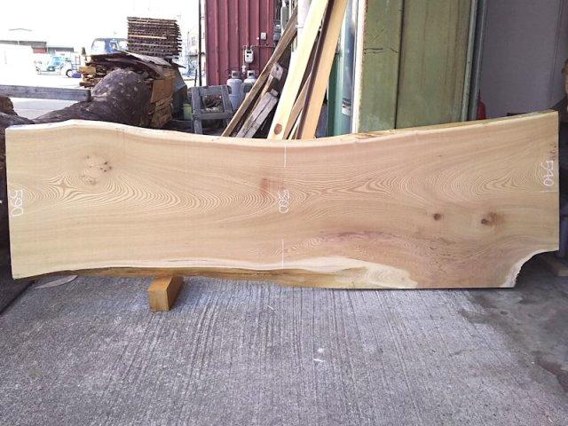 K-551 欅ケヤキ 国産 天然耳付き板 2150×600 天然乾燥材