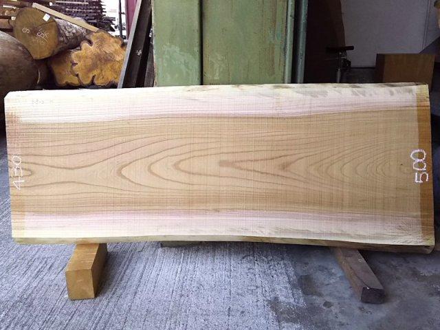 K-571 欅ケヤキ 国産 天然耳付き板 1300×500 天然乾燥材