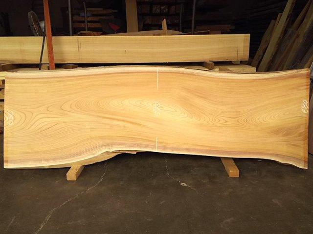 K-589 欅ケヤキ 国産 天然耳付き板 2000×650 天然乾燥材 表面加工済