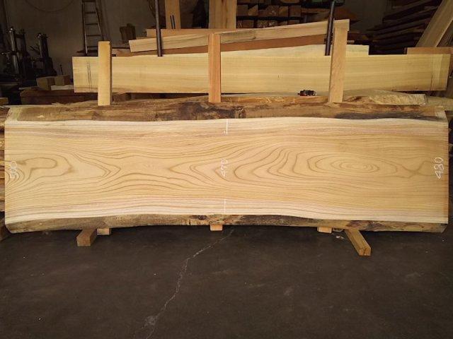 K-592 欅ケヤキ 国産 天然耳付き板 2120×600 天然乾燥材 表面加工済