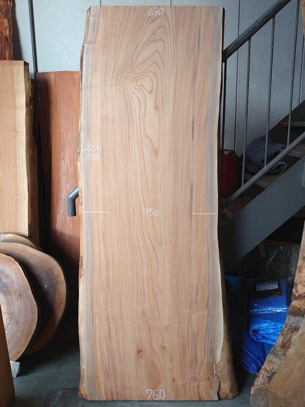 K-593 欅ケヤキ 国産 天然耳付き板 2200×800 天然乾燥材 表面加工済