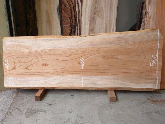 K-647 欅ケヤキ 国産 天然耳付き板 1500×600 表面電気カンナ済 天然乾燥材