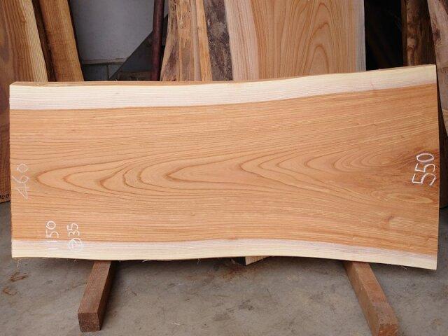 K-652 欅ケヤキ 国産 天然耳付き板 1150×550 表面電気カンナ済 天然乾燥材