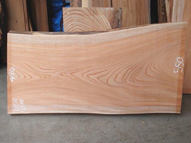 K-659 欅ケヤキ 国産 天然耳付き板 1050×550 表面電気カンナ済 天然乾燥材
