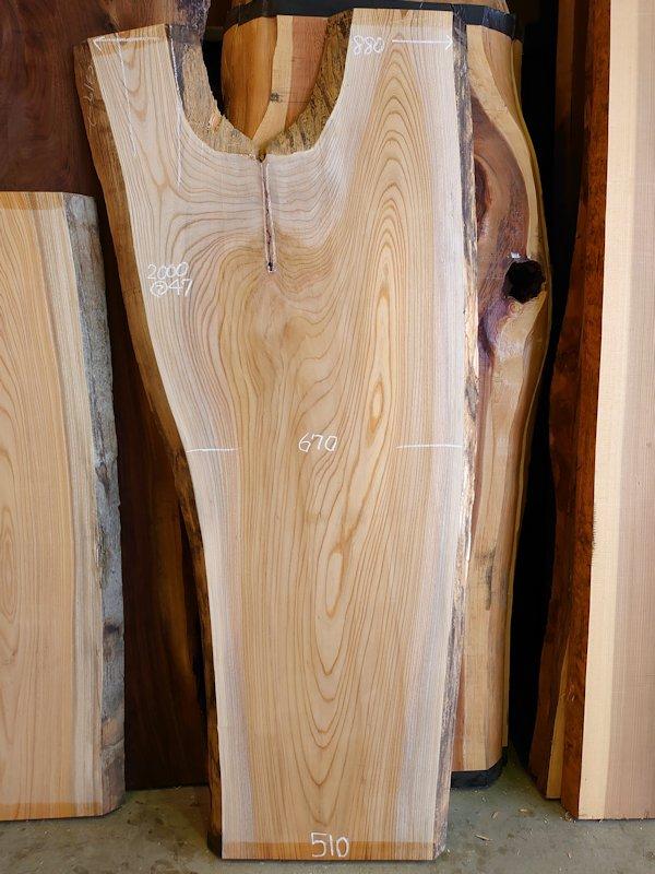 K-667 欅ケヤキ 国産 天然耳付き板 2000×800 表面電気カンナ済 天然乾燥材