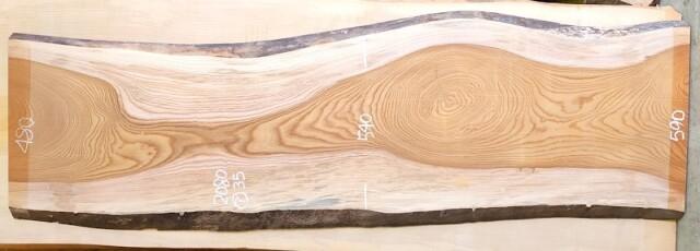 K-675 欅ケヤキ 国産 天然耳付き板 2080×600 表面電気カンナ済 天然乾燥材