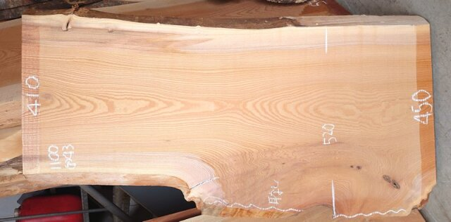 K-679 欅ケヤキ 国産 天然耳付き板 1100×500 天然乾燥材