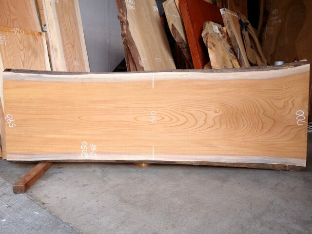 K-712 欅ケヤキ 国産 天然耳付き板 2050×700 表面電気カンナ済 天然乾燥材