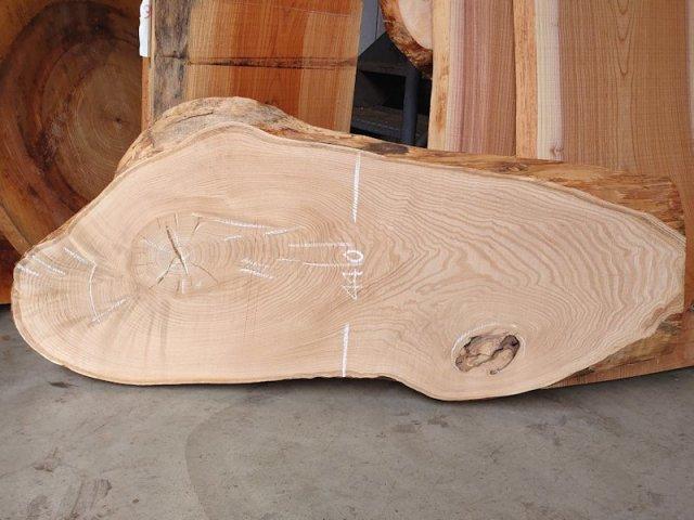 KU-149 栗クリ 国産 天然耳付き板 1330×500 天然乾燥材