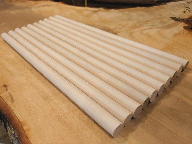 丸棒 栃トチノキ 縮み杢 450×20丸 2本セット 乾燥材 TT-01