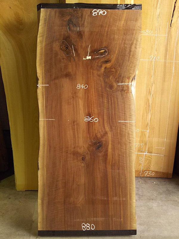 WO-153 ブラックウォールナット 耳付き一枚板テーブル用 2050×900