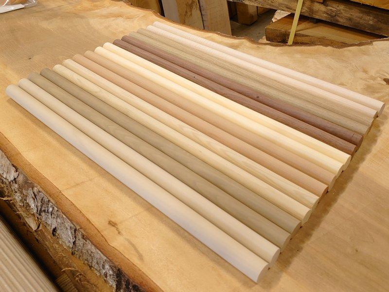丸棒 バチ用 朴ホウノキほうのき榧カヤヒバ他 450×20丸 8種類16本セット 乾燥材 MB-01