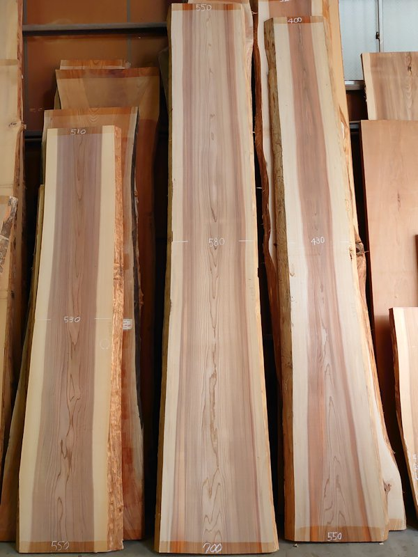 S-240 杉スギすぎ 国産 天然耳付き板 3950×600 天然乾燥材