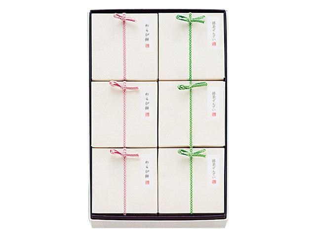 夏の小箱6個入(わらび餅3・抹茶ぜんざい3)