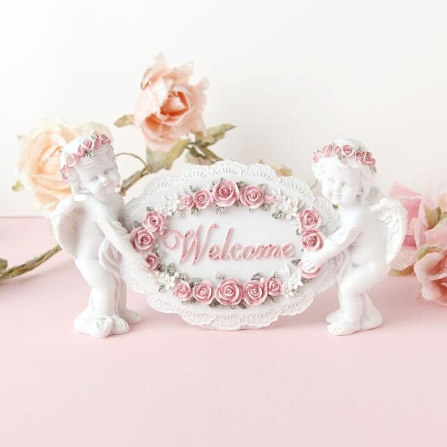天使 グッズ 天使 置物 ウエルカムエンゼル インテリア 雑貨 オブジェ エンジェル 天使 エレガント 素敵 可愛い 誕生日 プレゼント ギフト エンゼル エンジェル ローズ 人形 薔薇雑貨 返品交換不可