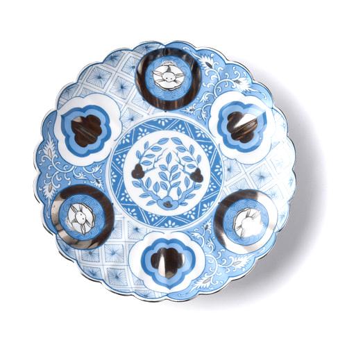 kotohogu 昴 18cm皿 ai 藍色 青 波佐見焼 大皿 中皿 丸皿 ギフト 和食器 かわいい 花 母の日 ギフト 敬老の日 ギフト パーティー 返品交換不可