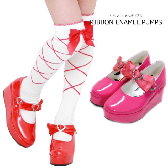 リボンエナメルパンプス 残り2カラー 3サイズのみ 半額 50%オフ 子供靴 返品交換不可商品 [M便1/0]