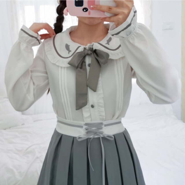 レディース ブラウス 長袖 ブラウス ホワイト 白 韓国 リボン 可愛い 大人 レディース 春 夏 韓国 トップス 衣装 ネコポス可能 返品交換不可