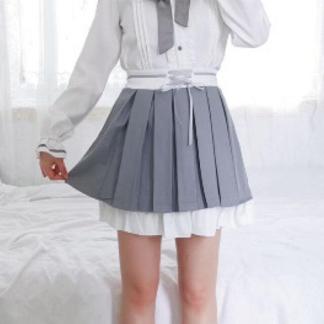 レディース スカート グレー 韓国 リボン 編み込み風 ホワイト 白 可愛い 大人 レディース 春 夏 韓国 ボトムス プリーツスカート 制服 韓国服 衣装 ネコポス不可 返品交換不可