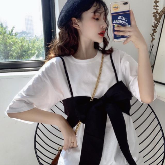 レディース Tシャツ 半袖 ビスチェ付き 可愛い トップス 韓国 レディース 春 夏 白 トップス ネコポス可能 返品交換不可