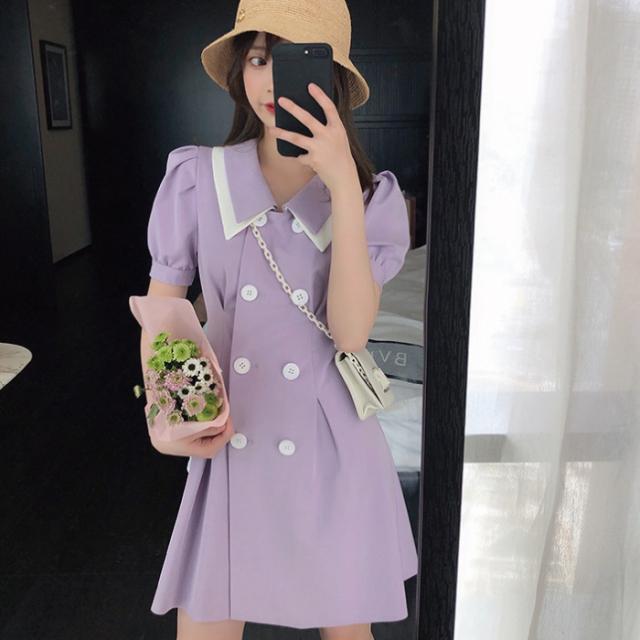 レディース ワンピース 可愛い パープル 紫 ワンピース 韓国 レディース 春 夏 韓国 アイドル 衣装 ネコポス可能 返品交換不可