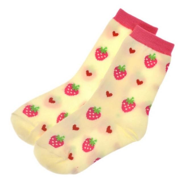 SALE 子供靴下 いちご柄クルーソックス 毎日の通園通学にオススメ!靴下 キッズ