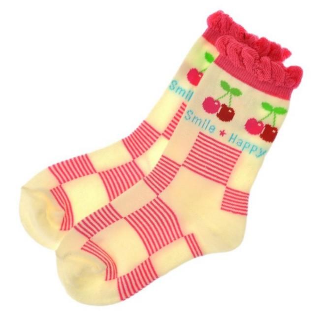 激安セール SALE 子供靴下 さくらんぼ柄クルーソックス 毎日の通園通学にオススメ!靴下 キッズ