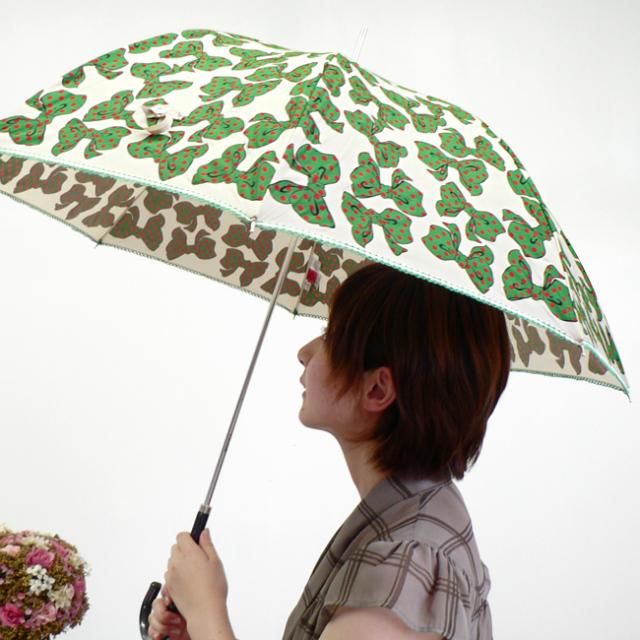 グリーンリボン長傘 婦人傘  レディース 雨傘 大人可愛い傘 カジュアルにも綺麗めにもおすすめ