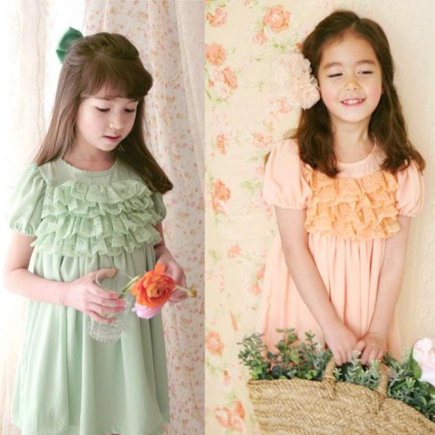 【セール】フリル&レースのパフスリーブワンピース子供服 発表会ドレス