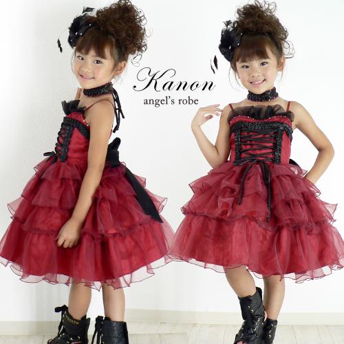 子供ドレス 赤 子供服 ピアノ発表会 ドレス フォーマル 結婚式 発表会 女の子用 レッド 子供服 カノン 送料無料 10着以上でまとめ割