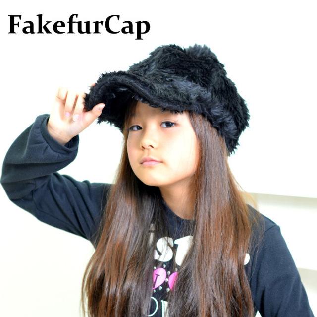 フェイクファーキャップ◆あったか帽子 52-56センチ キッズ帽子 秋 冬 子供 帽子