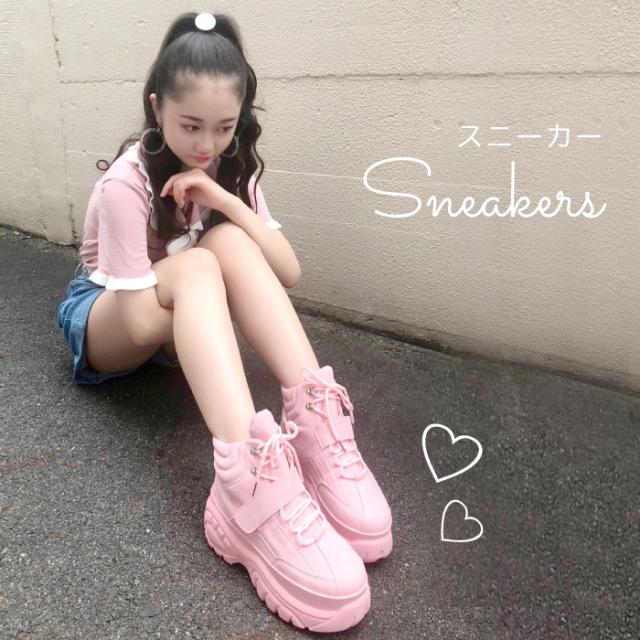 レディース スニーカー ピンク スニーカー 韓国 厚底スニーカー 靴 可愛い ダンス 春 夏 トップス 返品交換不可