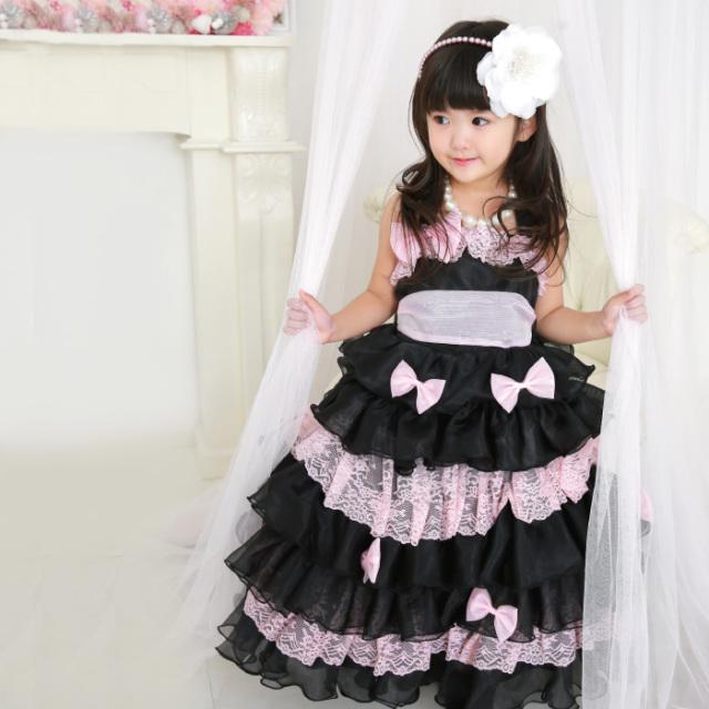 ピンクシルフィード (ブラック ロング丈) 子供ドレス 100cm ≪ネコポス不可≫ ≪返品交換不可≫ [M便1/0]