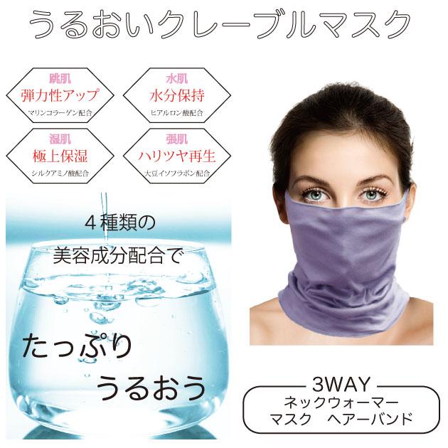 うるおいクレーブルマスク ブラック グレー 美容成分配合でたっぷり潤う!!【TB-042】ネックウォーマーマスク
