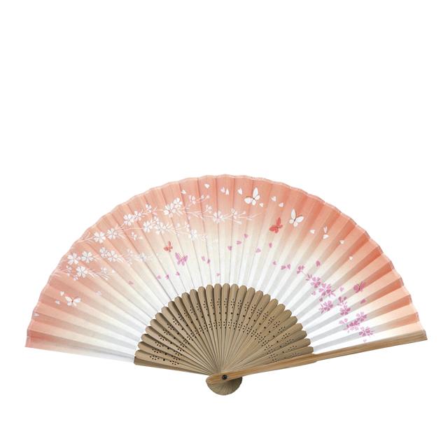彩り和紙扇子 唐木中彫 桜に蝶