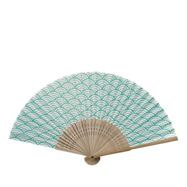涼風布貼扇子 唐木中彫 青海波 7寸