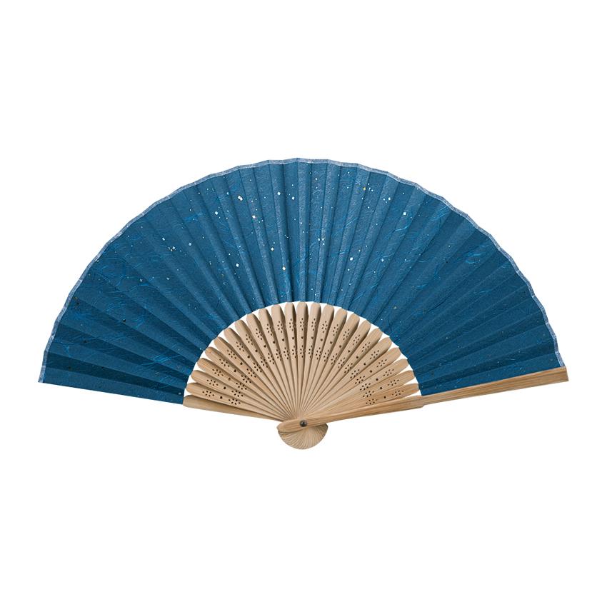 彩り和紙扇子 唐木中彫 金小石(紺) 7寸