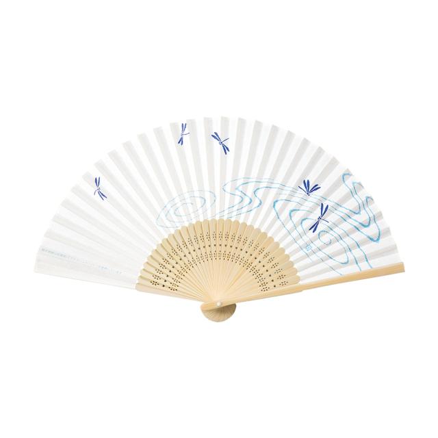 抗ウイルス・抗菌和紙扇子 白竹中彫 トンボ