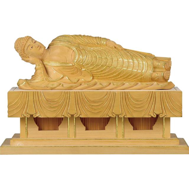 釈迦涅槃像 淡彩色 切金・ヒノキ製