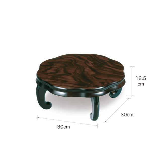 No.23057 木製 花台 華(背低タイプ) 黒檀調 1個