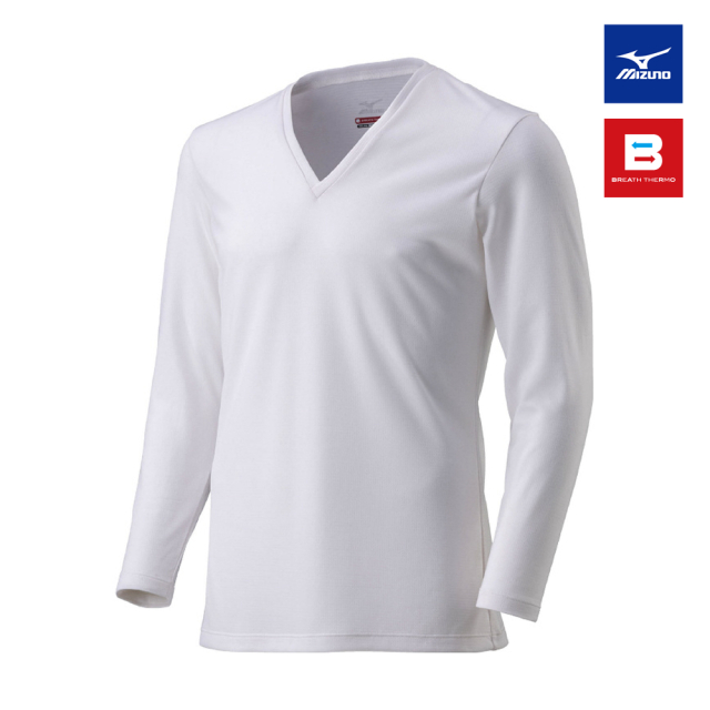 【MIZUNO】吸熱発熱素材〈ブレスサーモ〉 アンダーウエア Vネック長袖Tシャツ 紳士用