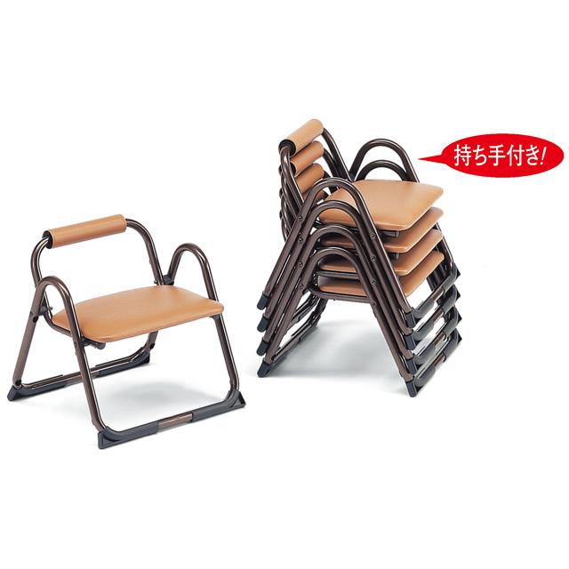 アルミ製 本堂用 椅子持ち手付き型・背もたれ付き・小寸