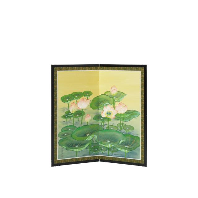 ご寺院専用 仏前屏風 「聖蓮画」<二曲タイプ>・幅80cm