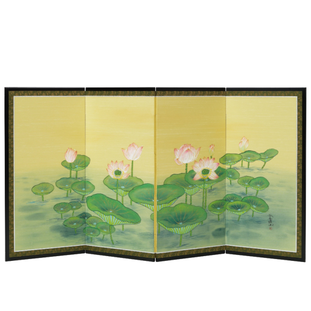 ご寺院専用 仏前屏風 「聖蓮画」<四曲タイプ>・幅178cm