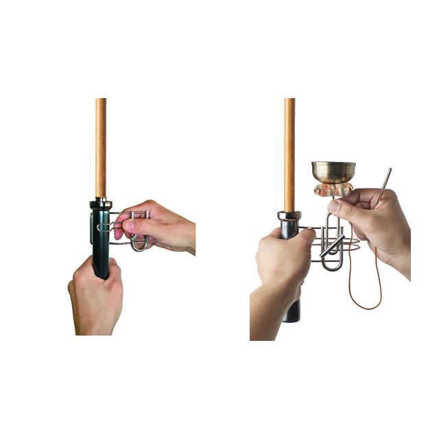 手持ち印金専用ホルダーを使用して、傘に取り付ける手順