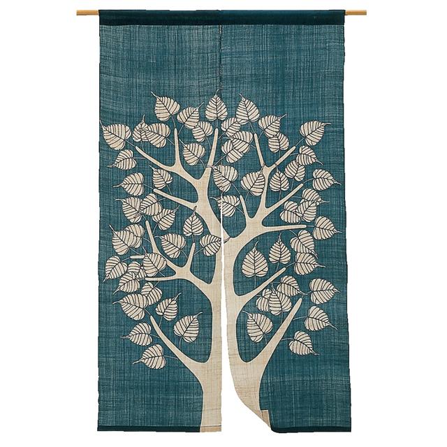 藍染 麻のれん「菩提樹」 長尺