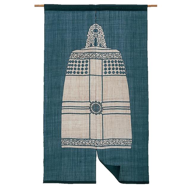 藍染 麻のれん「梵鐘」 長尺