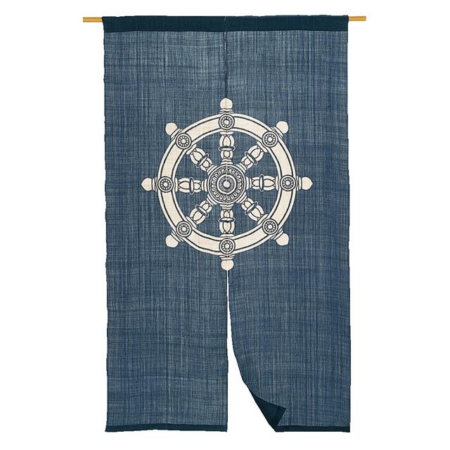 藍染 麻のれん「法輪」 長尺