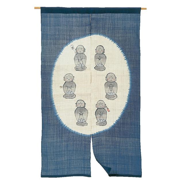 藍染手描き 麻のれん「六地蔵」 長尺